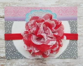 Valentine Headband, Red and White Baby Headband, Headband,  Infant Headband, Newborn Headband,  Red Christmas Headband, Red Headband