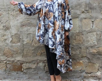 SALE ON 20 % OFF Maxi top/ Maxi tunic/ Plus size top/ Floral maxi tunic/ Plus size Tunic/ cover up dress/ cover up/ plus size clothing/ Long