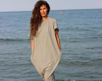 SALE ON 20 % OFF Light Grey Maxi Dress, Cotton Knit Caftan Dress, Plus Size Dress, Beach Dress, Plus Size Clothing, Sizes 1X through 4X