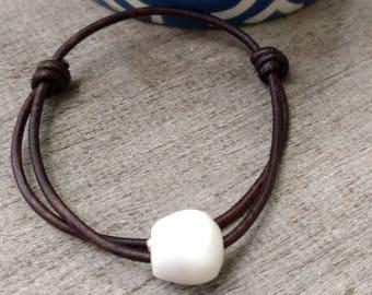 Hawaiian Cone Shell Leather Bracelet