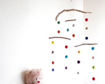Felt Balls Kinetic Mobile with Driftwood -- Colorful Felt Poms -- Long Ceiling Mobile -- Gender Neutral Baby Nursery -- Ready to ship