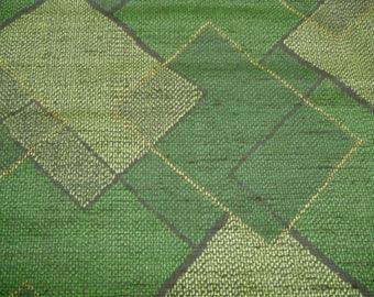 Green Handwoven Geometric Vintage Japanese tsumugi silk kimono fabric