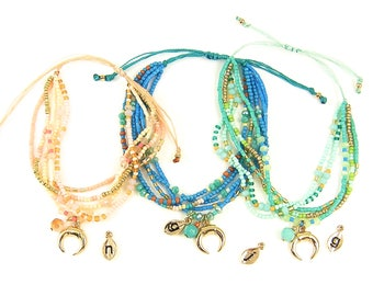 Personalized Colorful Boho Bracelet Turquoise Aqua Peach Bead Bracelet Multistrand Adjustable Bracelet Macrame Closure Bracelet |BB2-14