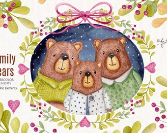 Family Bears - art clipart - Illustration - Watercolor Elements - PNG file