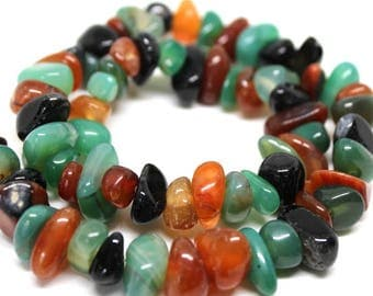 Multi Color Agate Semi Precious Gemstone Pebble Beads