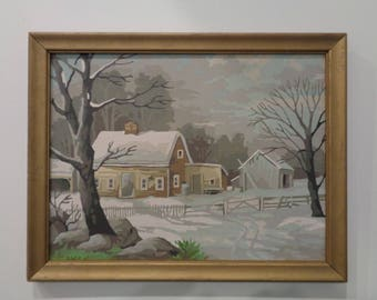 Vintage Paint by Number Painting of a Country House Winter Scene