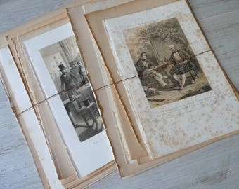 Vintage Illustrations, Paper Ephemera Pack, French Book Pictures, Paper Bundle, Antique Pages, Scrapbooking, collage paper, crafting