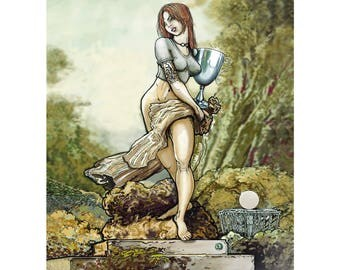 Disc golf art - Silver Girl.  Disc Golf Art Print.  Disc Golf Illustration.