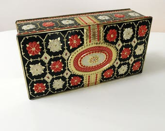 Vintage 1960s Gray Dunn Biscuit Tin in Gold with Red and White Flowers