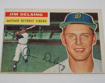 1956 TOPPS Baseball Card JIM DELSING Detroit Tigers Outfield Card Number 338 White Back