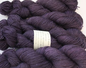 Mysterious Unafraid 75/20/5 SW Merino/Nylon/Stellina fingering weight shimmer sock yarn