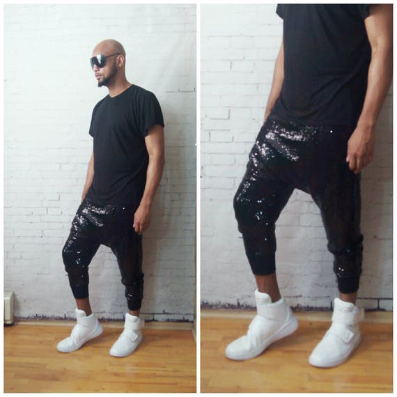 Black Mini Sequin Harem Jogger Drop Crotch Sequin Pant Balmain Katy Perry Concert Edm holiday shinny liquid