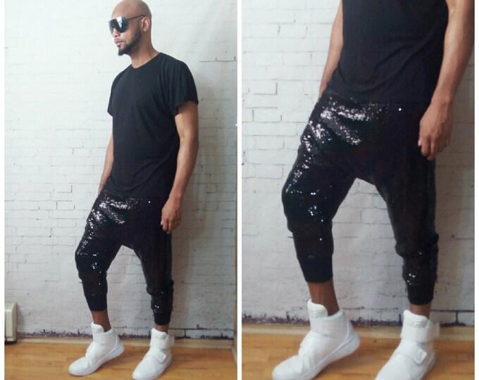 Black Mini Sequin Harem Jogger Drop Crotch Sequin Pant Balmain Katy Perry Concert Edm holiday shinny liquid