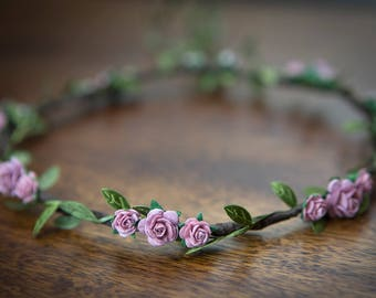 Dusty Pink Rose Flower Crown ... FESTIVALS, WEDDINGS, FLOWERGIRLS