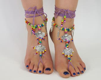 Barefoot sandals,Yoga sandals,Hippie sandals,Foot jewelry,Anklet,Crochet foot jewelry,Gypsy sandals,Boho sandals,Festival shoes