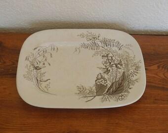 "Antique Ashworth Brothers Brown Transferware Platter 15.5"" x 12"" Victoria Pattern"