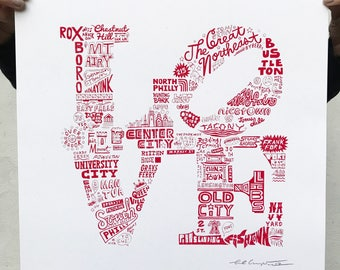 FREE SHIPPING - Philly LOVE -- Paul Carpenter Art -- Signed Open Edition Screen Print
