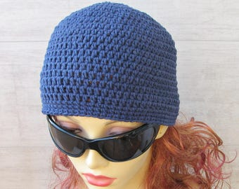 Sun Hat Cotton Sun Chemo Hat Crochet Summer Hat Perfect Beach Accessories  For Ladies Navy Blue Cotton Cloche