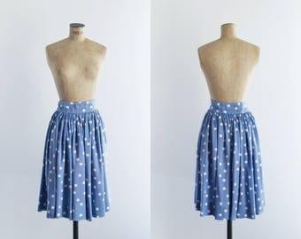 40s Polka Dots Cornflower Blue Vintage Skirt - 1940s Womens Fashion - Sylphide Skirt