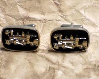 Vintage Train Cufflinks - Railroad - Unmarked Set - Mens Jewelry - Wedding - Groom or Groomsmen