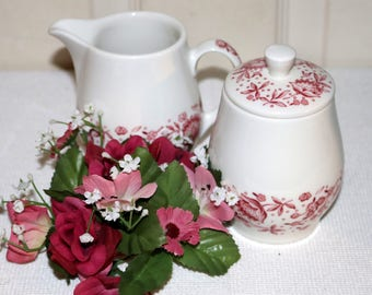 "Carefree True China by Syracuse  - ""Mayflower"" - Creamer and Sugar - White Background - Red Patterned Edge - Restaurantware"