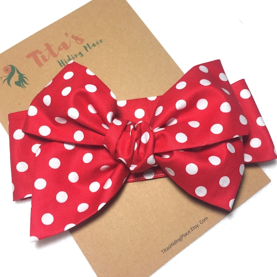 Minnie Mouse Baby Headwrap Bow, Red PolkaDot  Head Wrap, Baby Headband, Toddler Bows, Big Bows, Top Knot HeadWrap, Kawaii Baby Bow,  HW0015