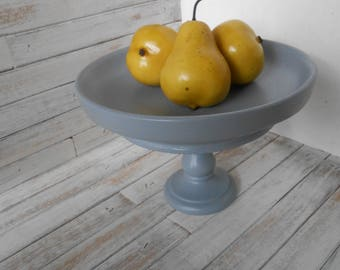 Wood Pedestal Bowl- Gray Pedestal Stand-Toiletries or Soap Pedestal Dish-Repurposed Vintage Stand-Wood Pedestal Bowl-Gray Wood Pedestal