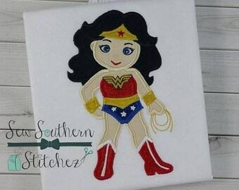 Super Hero Custom embroidered Wonder Woman Inspired Birthday Shirt 106