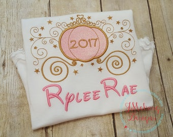 Pink & Gold Princess Carriage Embroidery - Princess Birthday - Custom Tee 17