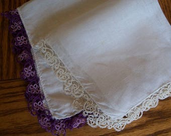 Vintage Tatted Hankies,Set of 2,Purple Edging,White Edging - FREE SHIPPPING
