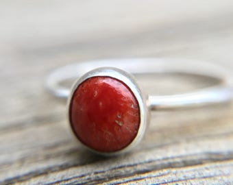 Red Coral Ring, Sterling Silver Stacking Ring, Red Ring, 6mm Coral Cabochon Ring, Red Coral Jewelry, Southwestern Boho Chic, Made to Order