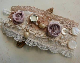 Vintage lace wrist cuff Bridal cream antique buttons textile bracelet wedding jewellery