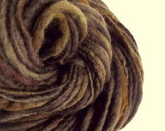 Handspun yarn, Thick and Thin yarn, chunky wool, dark browns, knitting yarn, chunky merino knitting wool, big knitting