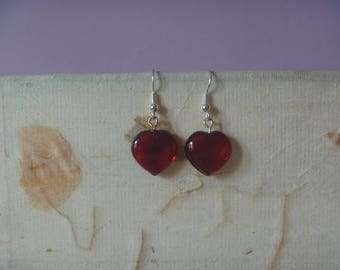 heart earrings, dangle red heart earrings, ecofriendly