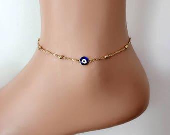 Evil Eye Anklet, Evil Eye Bracelet, Ankle Bracelet, Blue Evil Eye, Body Jewelry, Foot Bracelet, Gift for Her, Bracelets, Best Gifts,