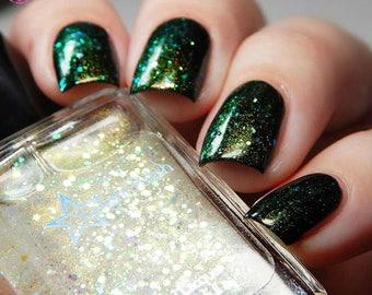 Dragon Aurora Iridescent Color Shifting Glitter Shimmer Effect Top Coat Nail Polish Starlight and Sparkles Gold Green Liquid Euphoria