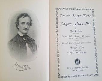 The Best Known Works of Edger Allen Poe in One Volume Book, vintage 1927
