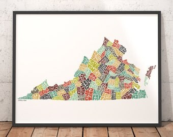 Virginia Map Etsy - Map of virginia with cities