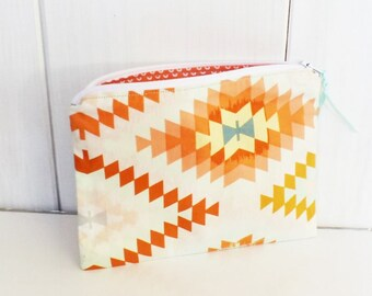 Small fabric pouch orange geometric Indian orange, pink, blue, green and inside