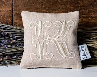 ON SALE Monogrammed Linen Lavender Pillow