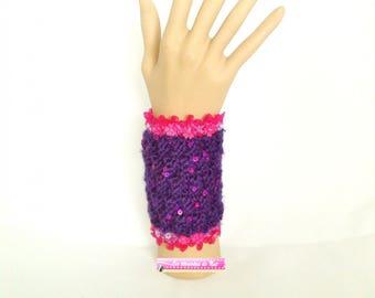 Knitted cuff, purple pink glitter jewelry