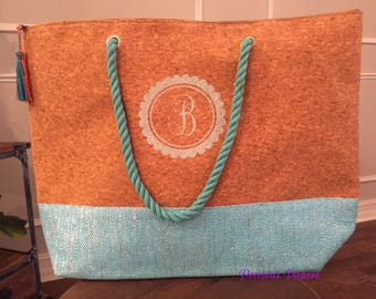 Personalized monogrammed cork tote bag, cork tote bag, cork beach bag, monogrammed beach bag, monogrammed gift