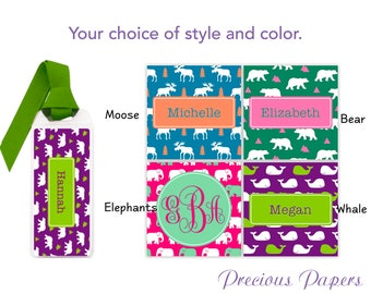 Personalized elephant bookmark, whale  bookmark, moose  bookmark, bear bookmark, elephant gift, moose gift bear gift