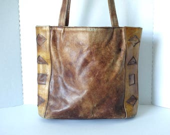 1970s Large Leather Bag 70s distressed leather Purse Oversized Hippie Boho Leather Shoulder Bag Shopper