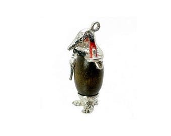Sterling Silver Lucky Touch Wud Wood Penguin Waiter Charm For Bracelets