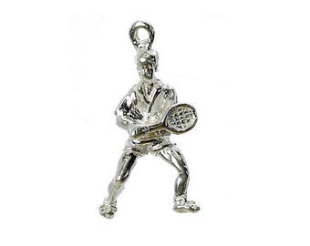 Sterling Silver Tennis Player Charm For Bracelets