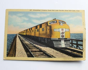 Vintage Salt Lake City Postcard, Novelty Bag of Salt, Streamliner Train Postcard, Circa 1950's