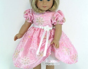 Handmade Doll Clothes Fit American Girl - 18 inch Dress, Pantalettes, Headband - Pink Taffeta, Organza Overlay - Shoes, Socks Option