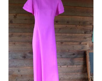 Vintage Fuchsia high neck, flared sleeve, long gown, Size L, hand made, 70s