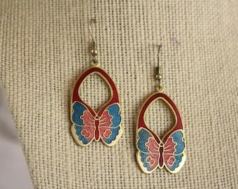 Vintage Cloisonne Earrings / 1980s Butterfly Dangle Pierced Ear Rings / Asian Fusion Garden Earrings / Vintage Art Nouveau Style Earrings